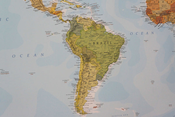 Close up of South America on political World Map by Where Exactly Maps. Shows all the South American countries in tasteful shades of green with meticulously placed text.