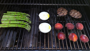 Grilled Burgers, Asparagus and Peaches easy Dinner
