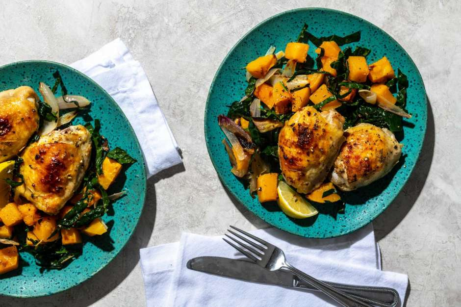 Roasted Chicken with Butternut Squash and Kale
