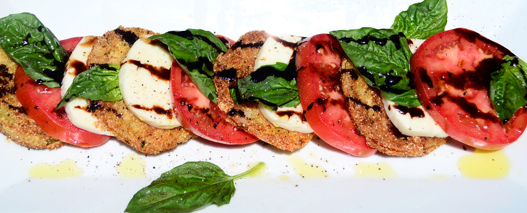 Caprese Salad with fried mozzarella fritters.