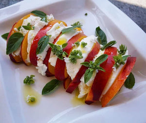 Summer Peach Caprese Salad With Extra Virgin Olive Oil