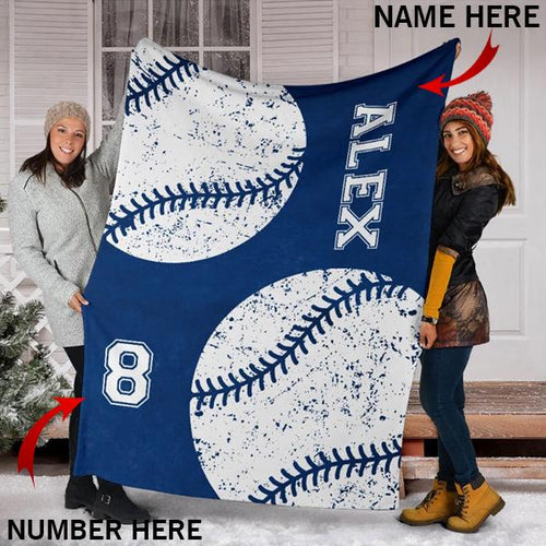 Custom Baseball Blue Cobalt Blanket - KA2709196OA