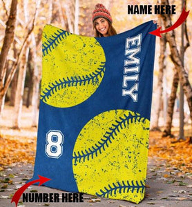 Custom Softball Blue Cobalt Blanket - KA28091923NH