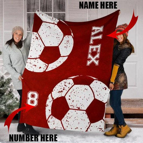 Custom Soccer Red Blanket-KA300919NH