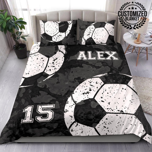 Custom Soccer Black Camo Bedding Set - KH3110191NH