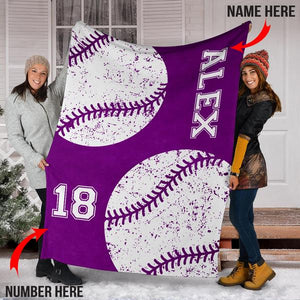 Custom Baseball Purple Blanket - KH0110193NH
