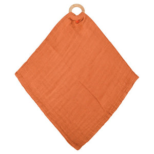 Muslin Security Blanket With Teether - Rust