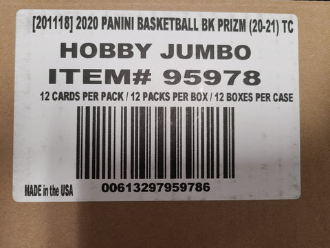 2020-21 Panini Prizm Hobby Basketball, 12 Box Case