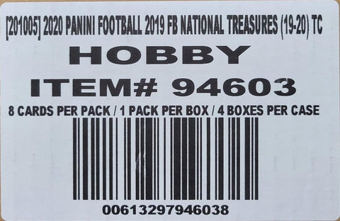2019 Panini National Treasures Football, 4-Box Case
