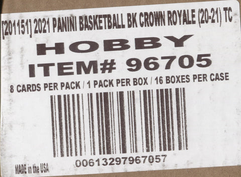 2020-21 Panini Crown Royale Hobby Basketball, 16 Box Case