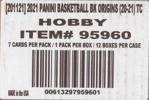2020-21 Panini Origins Hobby Basketball, 12 Box Case