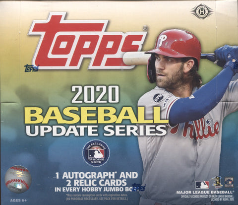 2020 Topps Update Series Jumbo Baseball, Box w/4 PROMO PACKS