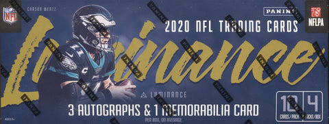 2020 Panini Luminance Hobby Football, Box w/2 PROMO PACKS