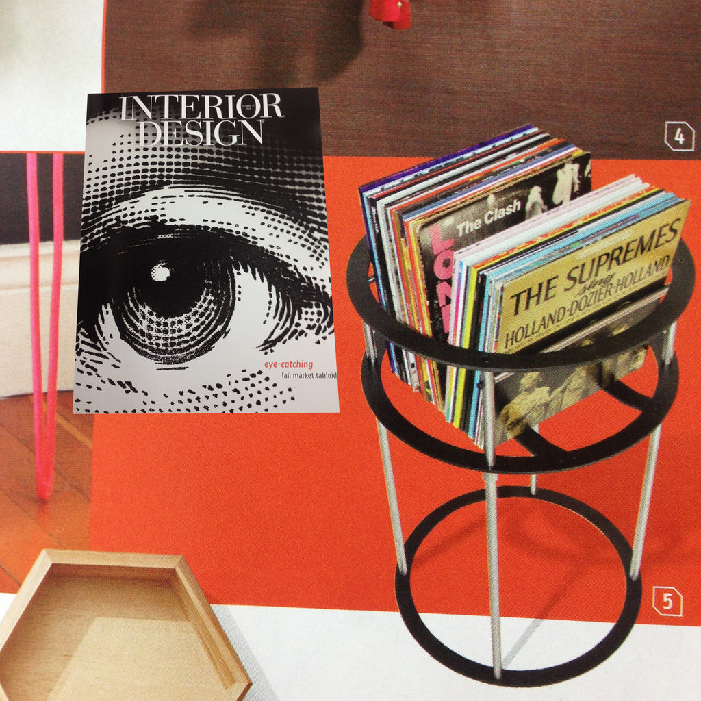 Vinyl record pedestal, LP-C featured in Interior Design Magazine