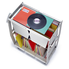 Vinyl record storage cart top view in silver with records by Wax Rax.