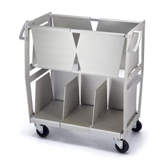 Vinyl record storage cart front view in silver holds 300 LPs built by Wax Rax.