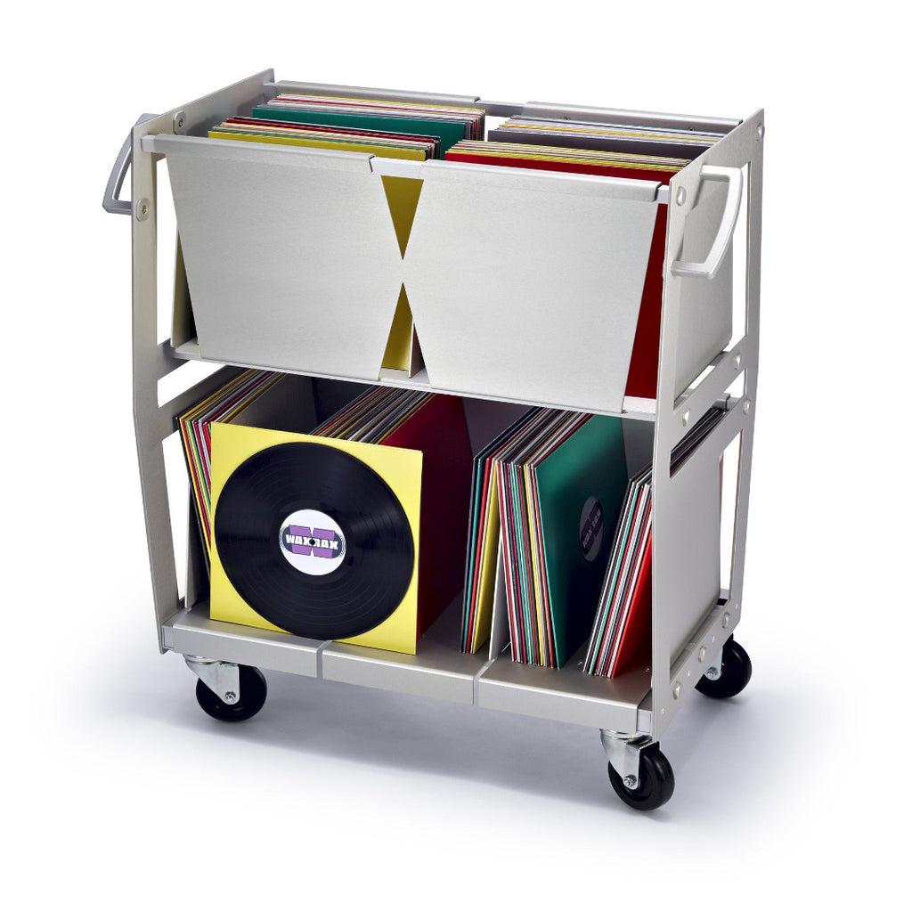 Vinyl record storage cart front view in silver filled with LPs built by Wax Rax.