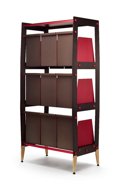 Vinyl record storage by Wax Rax so stylish the back of the unit is beautiful too.
