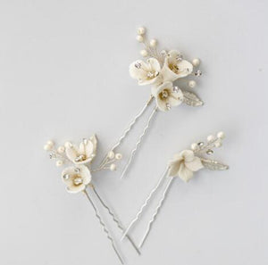 Issy Floral Silver Wedding Hair Pin Set