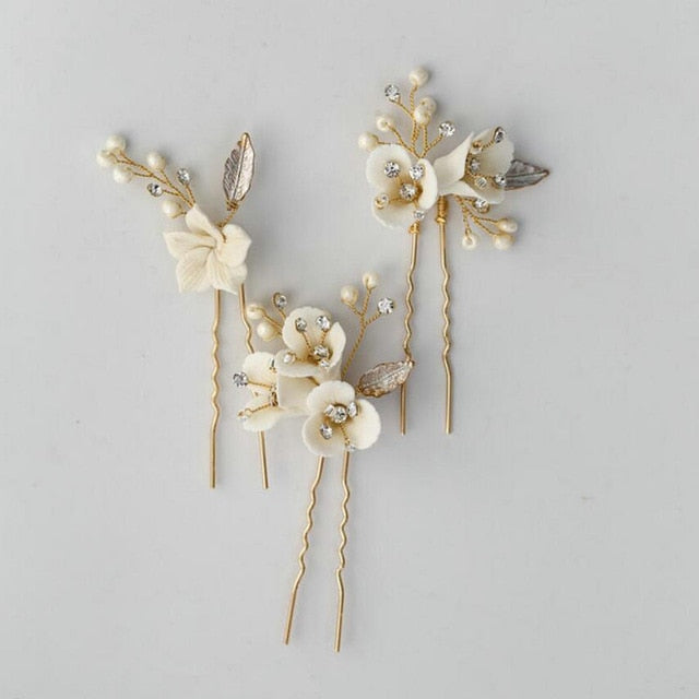 Issy Floral Gold Wedding Hair Pin Set