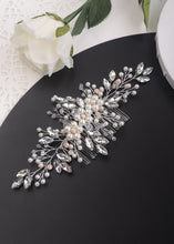 Load image into Gallery viewer, Lily Pearl & Crystal Silver Wedding Hair Comb