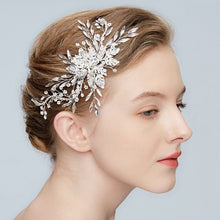 Load image into Gallery viewer, Elise Crystal Silver Leaf Wedding Headpiece