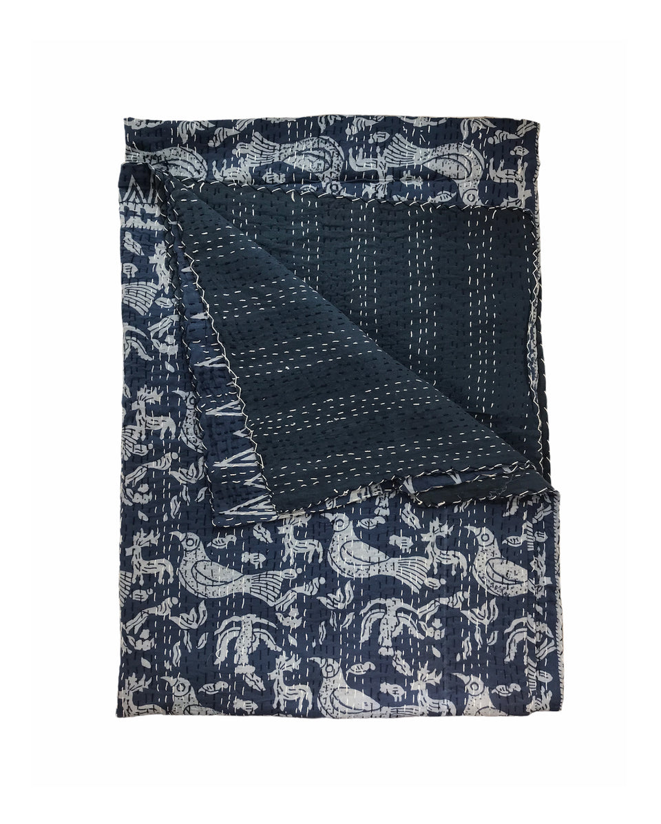 Block Print Indigo Quilts-Birds of Paradise