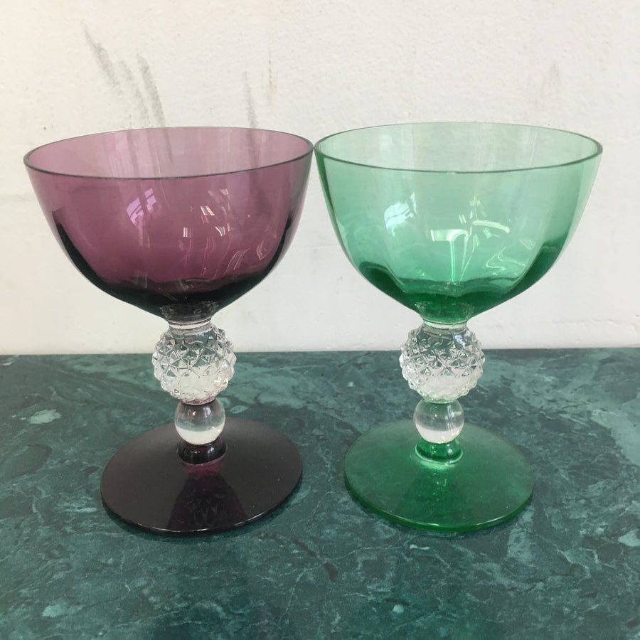 Set of 2 multi-colored cordial glasses