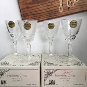 Set of 4 vintage crystal cordial glasses