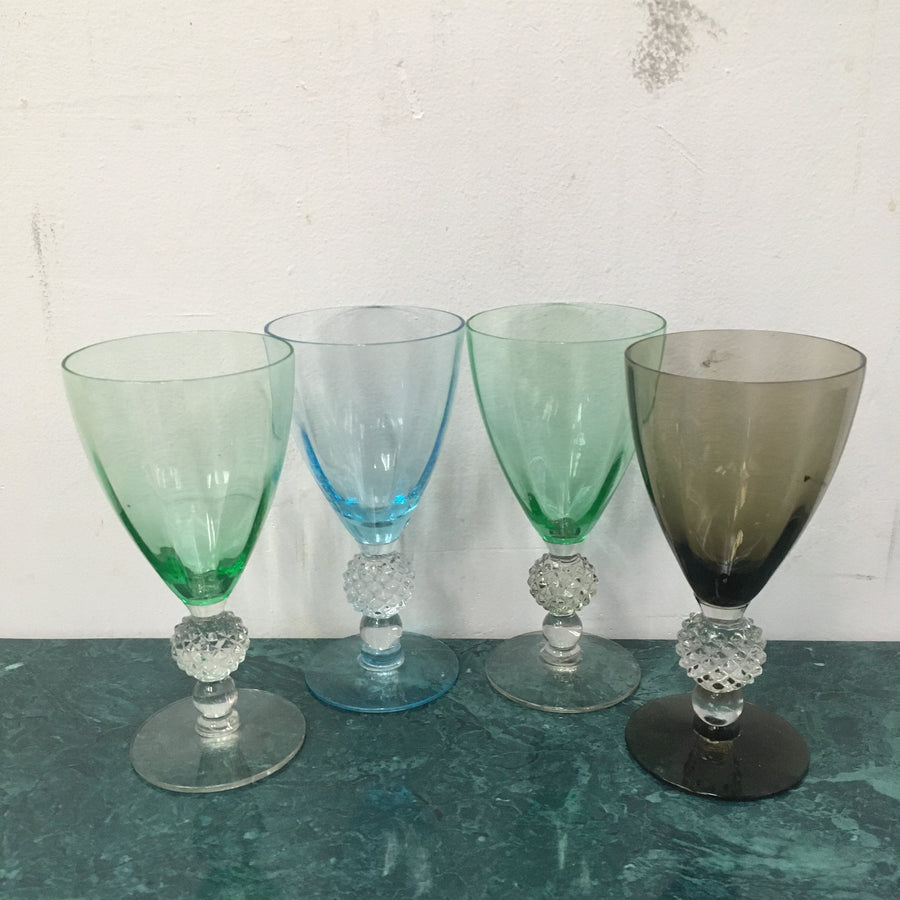Set of 4 multi-colored wine glasses