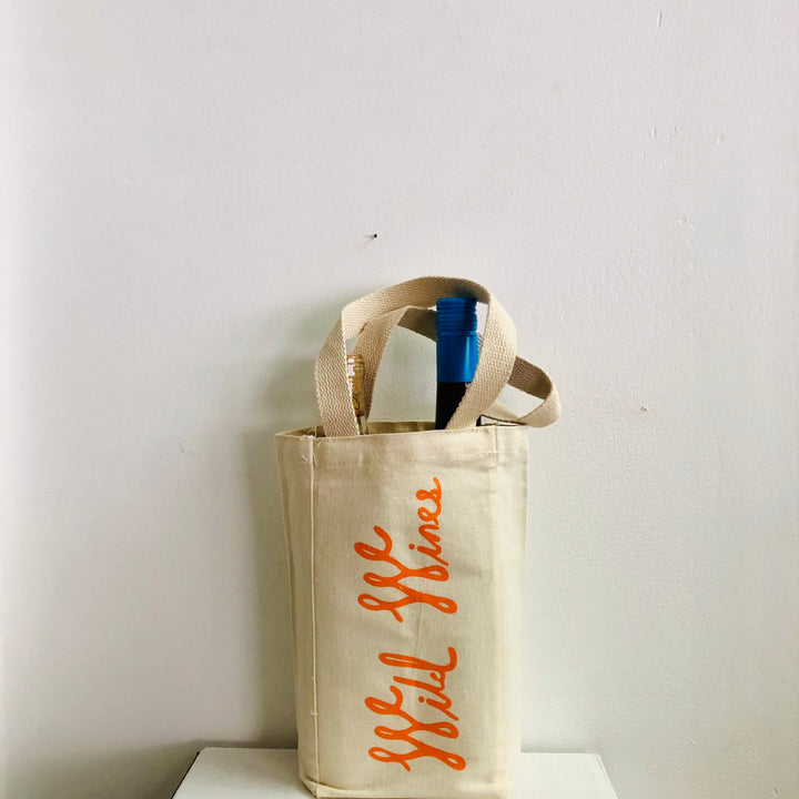 Wild Wines 2 bottle Tote -Orange Logo