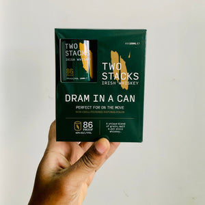 'Dram in a Can' Two Stacks Irish Whiskey (4-pk 100ml)