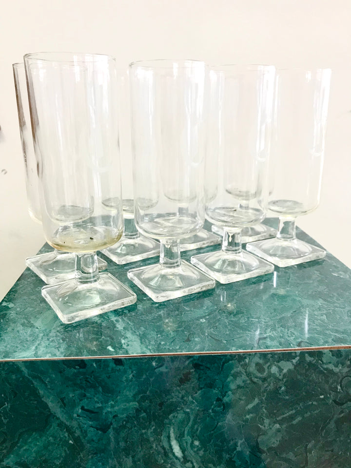 Set of 8 vintage square base flute glasses