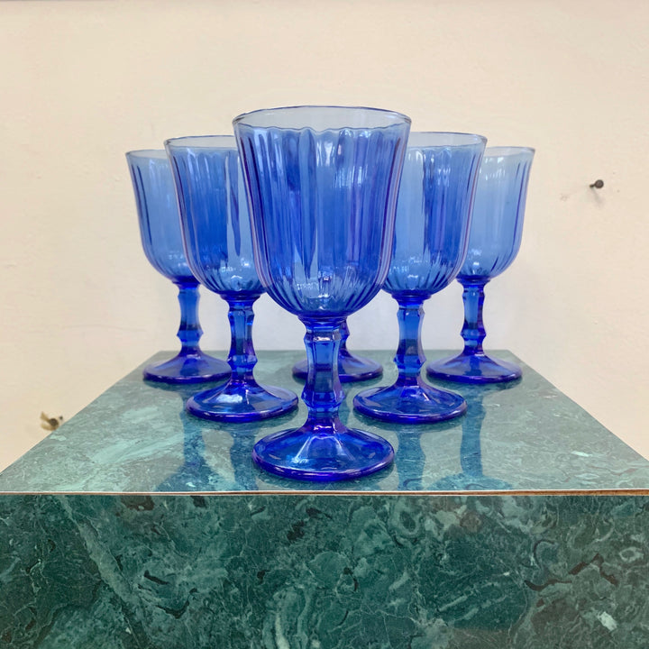 Set of 6 vintage blue wine goblets