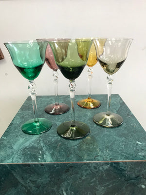 Set of 5 colorful vintage cordial glasses