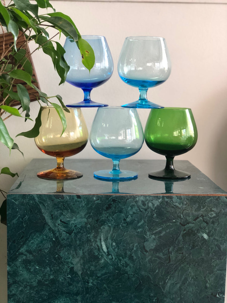 Set of 5 colorful vintage brandy glasses