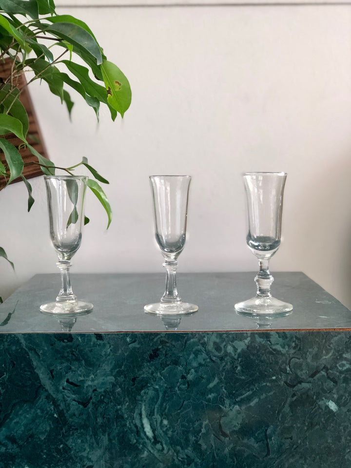 3 small vintage cordial glasses