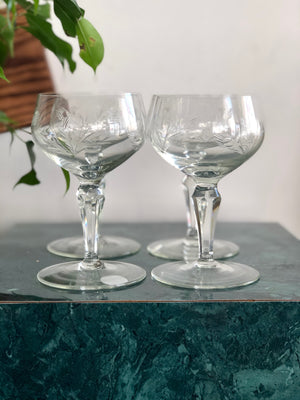 Set of 4 vintage cordial glasses with floral etching