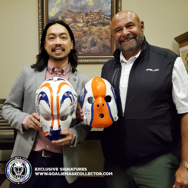 NEW SIGNING: GRANT FUHR IN PALM SPRINGS! SIGNED ROOKIE GOALIE MASKS