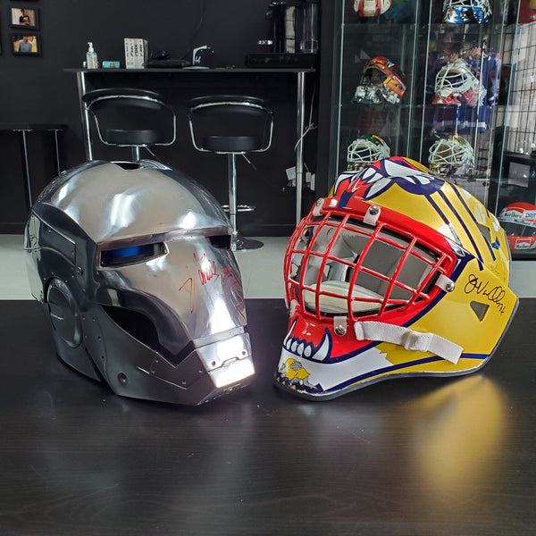 PREMIUM IRON MAN SIGNED HELMET MEETS JOHN VANBIESBROUCK  GOALIE MASK - SOLD TO CALIFORNIA!