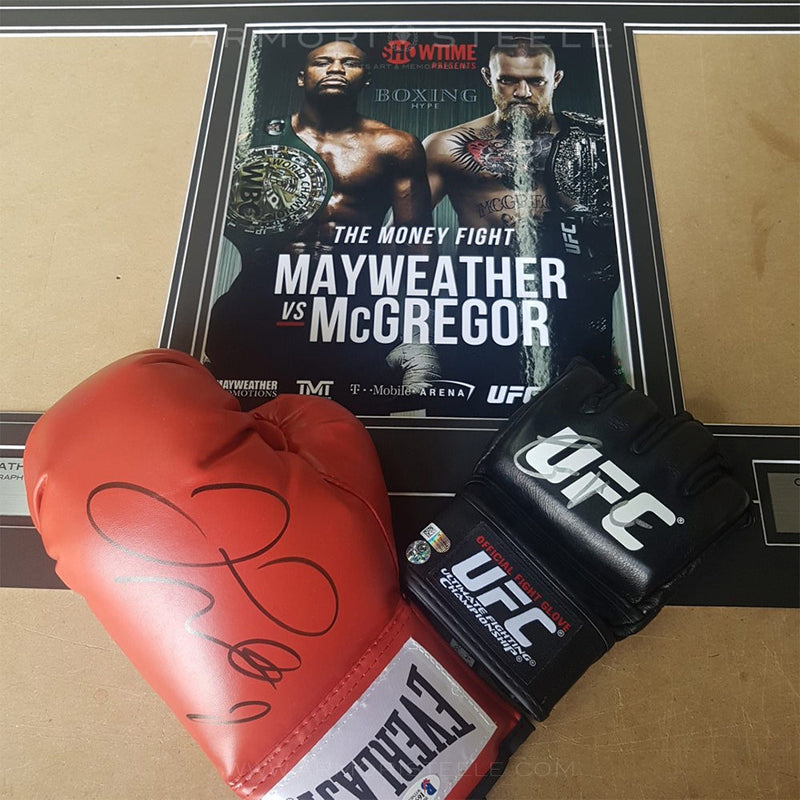 MCGREGOR VS MAYWEATHER FRAMED GLOVES SIGNED AUTOGRAPHED CERTIFIED WOODFRAME - SOLD OUT
