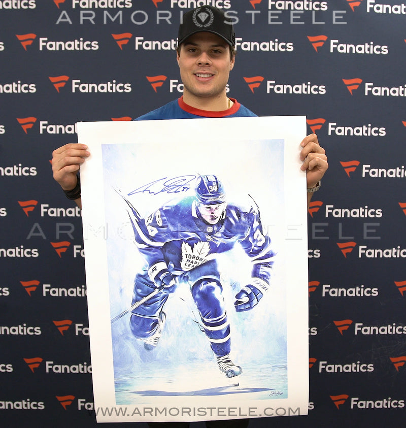 """BLUE SOUL"" AUSTON MATTHEWS SIGNED SPORTS ART CANVAS BY ARTIST SHAUN KELLY - LIMITED EDITION OF 34 - GALLERY PRINTS (20 X 30"" ) - SPECIAL 34/34 INSCRIPTION"