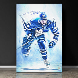 """BLUE SOUL"" AUSTON MATTHEWS SIGNED SPORTS ART CANVAS BY ARTIST SHAUN KELLY - LIMITED EDITION OF 34 - GALLERY PRINTS (20 X 30"" )"