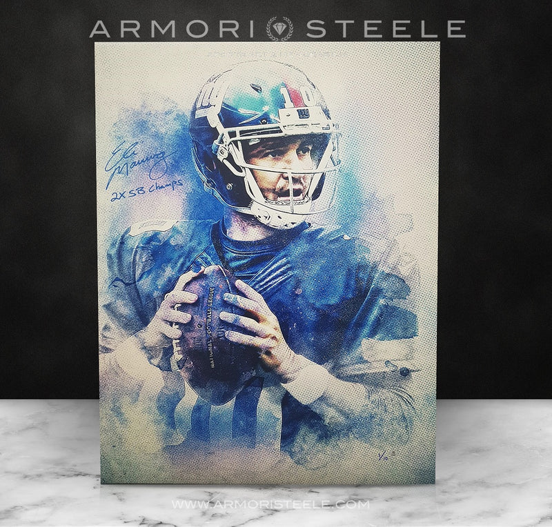 """ICONIC"" ELI MANNING SIGNED SPORTS ART CANVAS BY ARTIST MATTHEW SHARPE - LIMITED EDITION OF 10 GALLERY PRINTS - (2/10) TO (9/10) - (24 X 32) - SOLD OUT"
