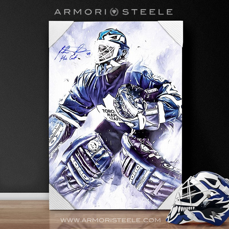 """THE CAT"" FELIX POTVIN SIGNED SPORTS ART CANVAS BY ARTIST SHAUN KELLY - LIMITED EDITION OF 29 - GALLERY PRINTS (24 X 32"")"