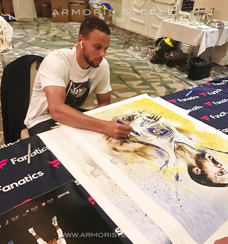 """EMBOLDEN"" STEPHEN CURRY SIGNED SPORTS ART CANVAS BY ARTIST MATTHEW SHARPE - AS ORIGINAL - LIMITED EDITION 1 OF 1 SPECIAL X-LARGE (30 X 40"")"