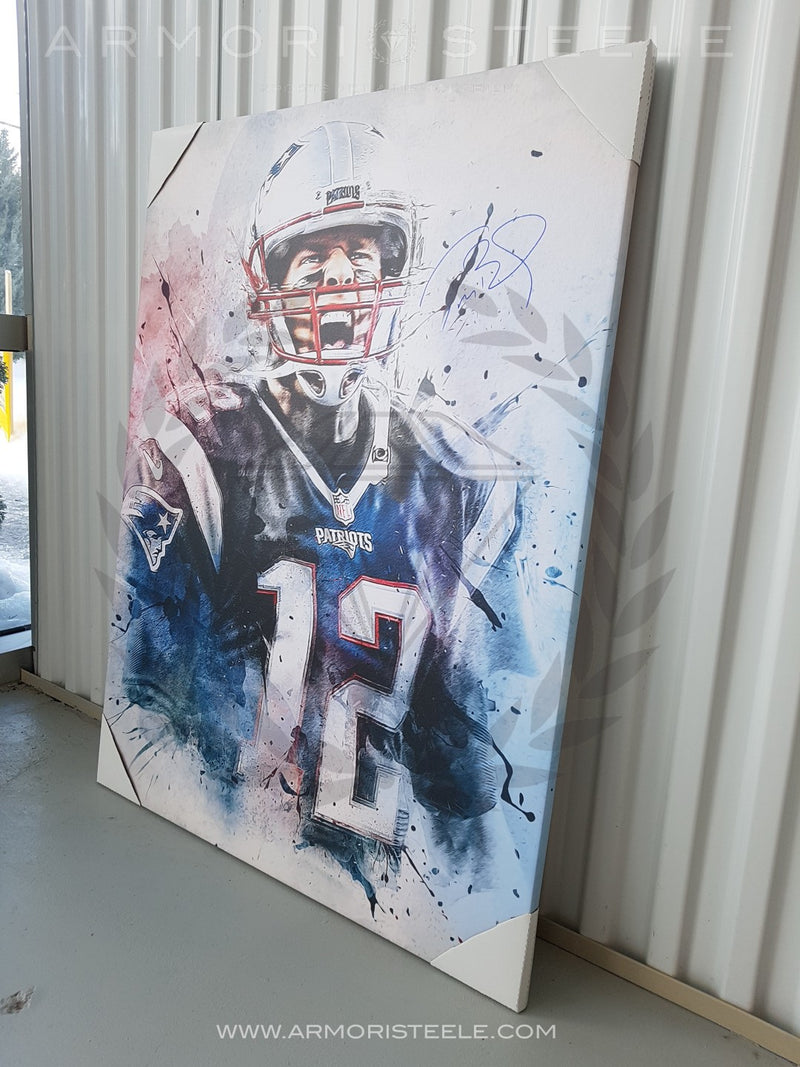 """THE PATRIOT"" TOM BRADY SIGNED AUTOGRAPHED  SPECIAL SPORTS ART CANVAS BY MATTHEW SHARPE - EXTRA LARGE (30 X 40"") AS LIMITED EDITION 1 OF 1 - SOLD OUT"