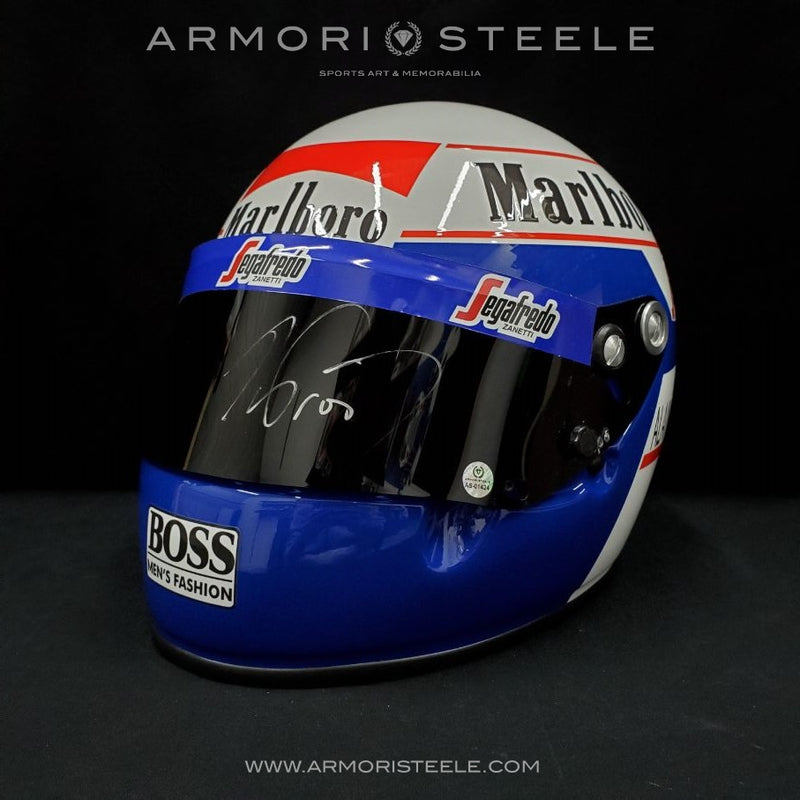 ALAIN PROST 1985 SIGNED AUTOGRAPHED F1 HELMET DISPLAY EDITION - WHITE AUTOGRAPH