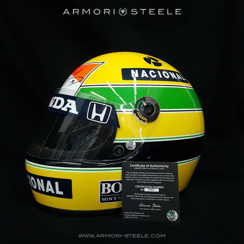 Ayrton Senna Signed Autographed On Helmet Directly On Logo Fullscale 1:1