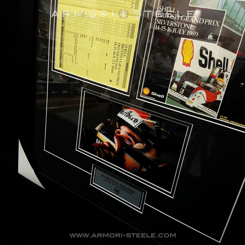 Ayrton Senna Signed Frame Autographed Silverstone 1989 British Grand Prix Original Program